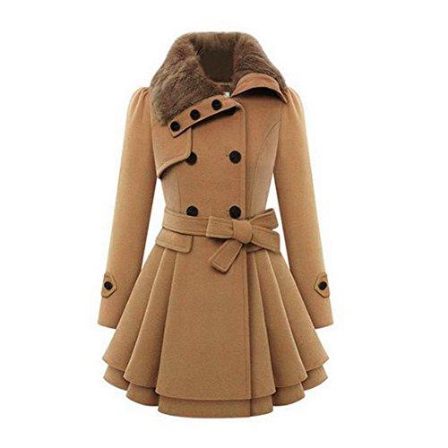 Vogholic Women's Winter Slim Belt Double-Breasted Wool Jacket Dress Coat Camel S