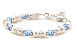 Cultured Freshwater Pearl & Baby Blue Crystal Christening Bracelet (5.5 Inches)
