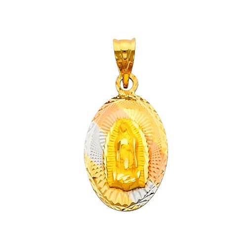 14K 3 Tri-color Gold Dia-Cut Religious Mary Guadlupe Stamp Charm Pendant