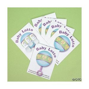easy baby shower games:24 Baby Shower Lotto Game Cards