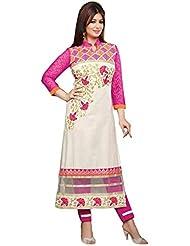 Kmozi Pink And White Cotton Salwar Kameez