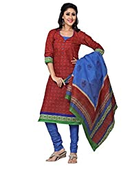 DARPAN TEXTILES Ethnicwear Women's DressMaterial(Red_Free Size)
