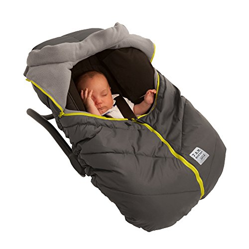 7 A.M. ENFANT Car Seat Cocoon: Infant Car Seat Cover Micro-Fleece Lined with an Elasticized Base, Gray