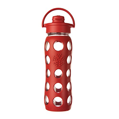 Lifefactory 22-Ounce BPA-Free Glass Water Bottle with Flip Cap & Silicone Sleeve, Red (Sports Water Bottle Flip Cap compare prices)
