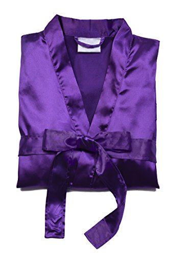 TowelBathrobe Short Satin Robes for Women (large, Purple) (Personalized Bridesmaid Robes compare prices)