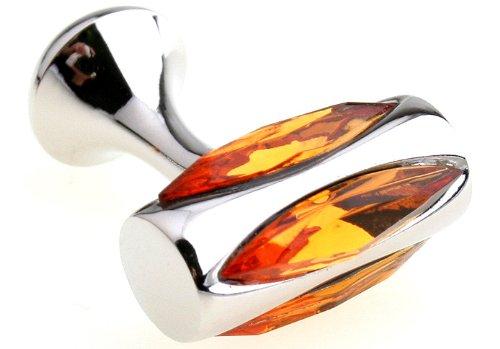 Orange Crystal Glass Vault Cufflinks Stud Cuff link