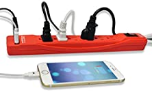 buy Rebelite Power Strip W/ 6 Outlets & 2 Usb Ports For Iphone, Ipad, Ipod, Samsung Galaxy, Android Phones, & Other Phones, Tablets, Mp3 Players & Any Other Electronic Device (Rebel Red)