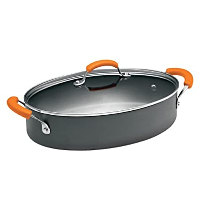 Rachael Ray Hard Anodized II Nonstick Dishwasher Safe 5-Quart Covered Oval Saute with Side Handles
