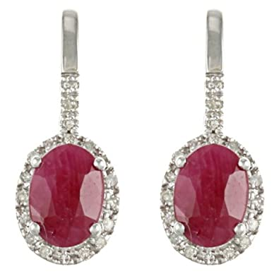 10k White Gold Genuine Ruby and Diamond Earrings (1/5 TDW)