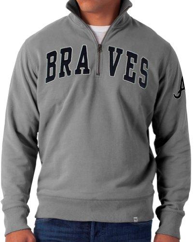 Mlb Atlanta Braves Men'S Striker 1/4 Zip Sweater, Medium, Wolf Grey front-947855