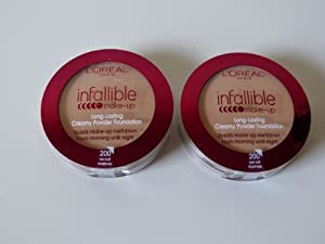 2 x L'Oreal Paris, Infallible Creamy Powder Foundation, 200 Golden Sand, 9g