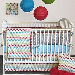 Fancy Calypso Piece Bumperless Crib Bedding Set by Bebe Chic