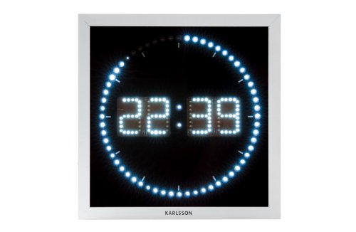 Karlsson LED The Time Roll Square White Metal Wall Clock