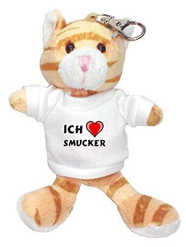 plusch-braun-katze-schlusselhalter-mit-t-shirt-mit-aufschrift-ich-liebe-smucker-vorname-zuname-spitz