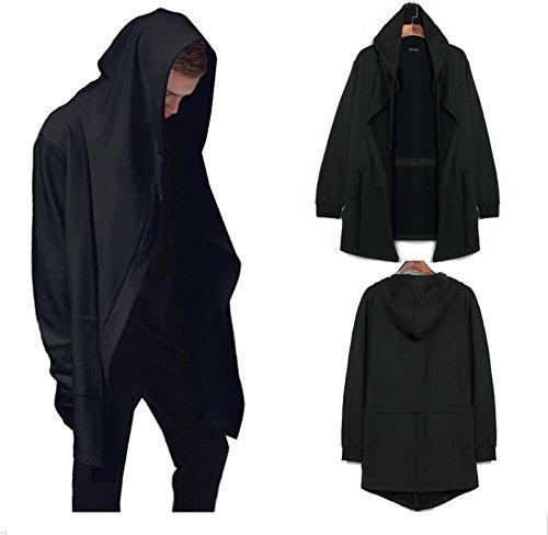 Junsi Unisex Casual Manica lunga Cardigan con cappuccio mantello Coat Cappotto Taglia L, colore: nero