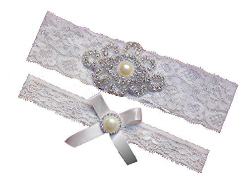 Rhinestone Pearl Vintage White Ivory Lace Wedding Garter Set,Bridal Prom Gift