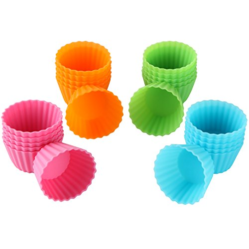 Bakerpan Silicone Mini Cupcake Holders, Mini Cupcake Liners, Pastry & Dessert Cups, 24 Pack (Mini Muffin Cupcake Liners compare prices)
