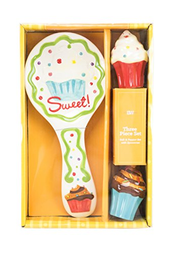 Boston Warehouse Cupcake Salt and Pepper Set with Spoonrest (Cupcake Spoon Rest compare prices)