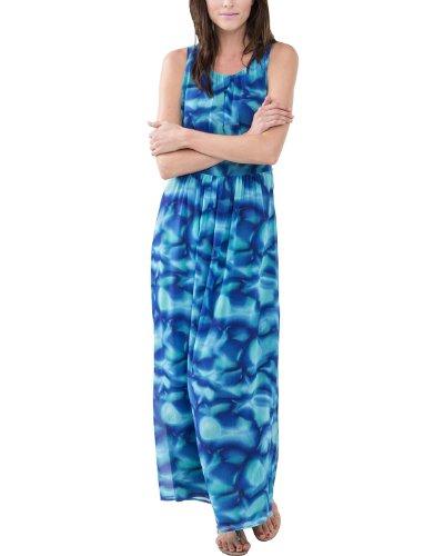Comma Damen Kleid, Maxi, Gr. 44 (Herstellergröße: 44), Mehrfarbig (blue AOP)