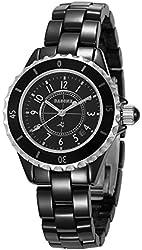 Dasone D0012 Women's Ceramic Watches Quartz Black Ceramic Watch with Calendar Function