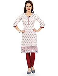 Desi Aura NX Elegant Embrace Piebald Cotton Indian Long Kurti Top (Pack Of 1)