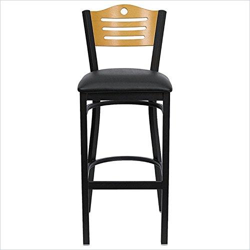 Flash Furniture HERCULES Series Black Slat Back Metal Restaurant Bar Stool - Natural Wood Back, Black Vinyl Seat