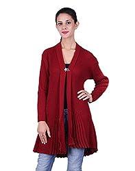 eWools Women's Woolen Shrug (Darshana-338_Maroon_X-Large)