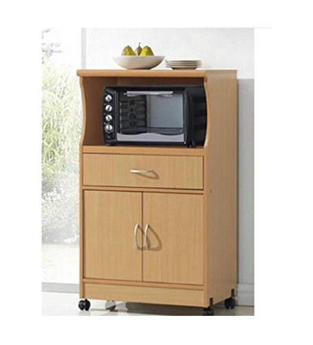 Microwave Cart Stand - Beech Finish - One Shelf for the Microwave and Another Shelf Above Plus a Drawer and Cabinet Below (Microwave Cart With Drawer compare prices)