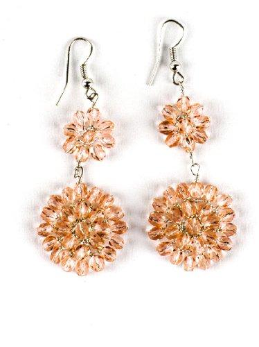 JousJous Pink Crystal Flower Explosion Dangling Earrings, 2.75