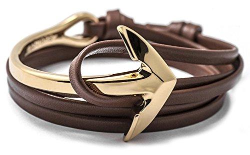 Golastartery Punk Alloy Anchor Bracelet Hand Leather Cuff Bracelet(Light Coffee)