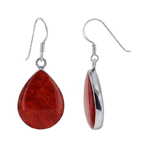 FVES008 Sterling Silver 15 x 19mm Teardrop Simulated Coral Cabochon Bezel set French wire Dangle Earrings