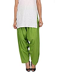 Womens Cottage Neon Green Pure Cotton Semi Patiala Bottoms