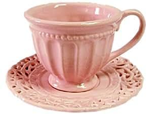 Set of 4 'Battenburg' PINK Demitasse Cups & Saucers - Perfect for Tea