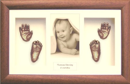 Baby Hand & Foot Casting Kit Set / Dark Wood Frame / Bronze Casts