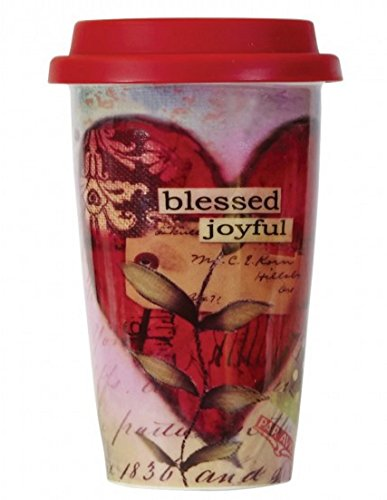 C.R. Gibson Double Wall Porcelain To-Go Coffee Cup, Blessed, Joyful