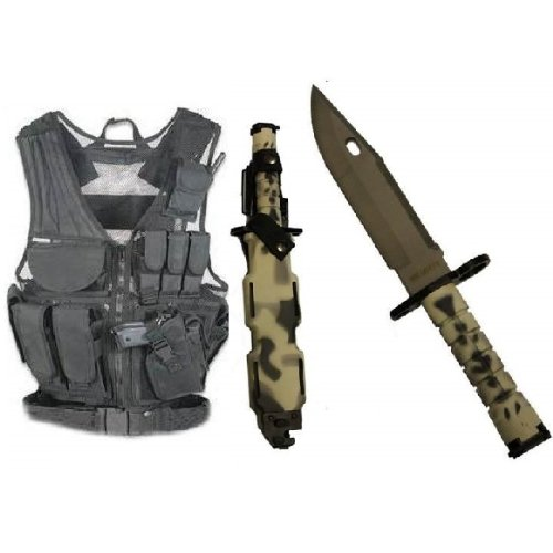 Ultimate Arms Gear Stealth Black Lightweight Edition Tactical Scenario Military-Hunting Assault Vest W/ Right Handed Quick Draw Pistol Holster + Urban / Snow Camo Camouflage Handle Stainless Steel M9 M-9 Military Survival Blade Bayonet Knife With Tactical