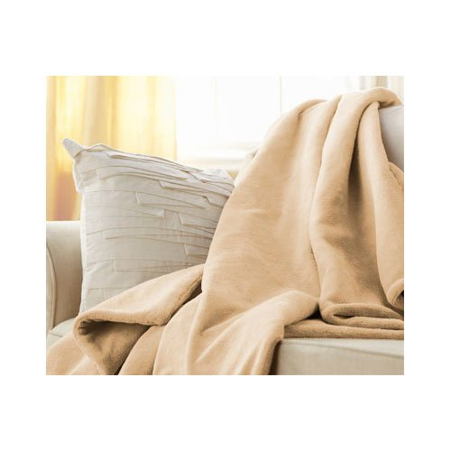 Sunbeam Heated Beige Microplush Throw Blanket Electric front-211357