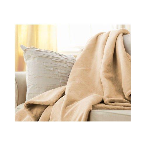 Sunbeam Heated Beige Microplush Throw Blanket Electric front-211357