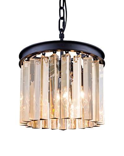 Urban Lights Sydney 3-Light Pendant Lamp, Mocha Brown/Golden Teak