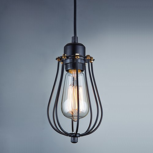 Ecopower Vintage Industrial Hanging Light Black Mini Pendant Cage Lamp Come With Nostalgic Edison Bulb, 40Watts