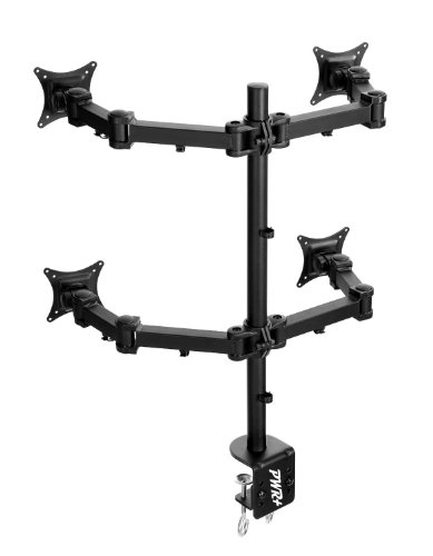 "Pwr+® Quad Ergonomic Lcd Monitor Screen Led Tv Table Desk Mount Clamp Stand Up To 27"" Heavy Duty Fully Adjustable"