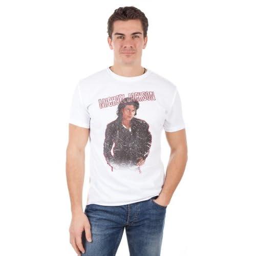 Amplified Herren T Shirt MICHAEL JACKSON BAD White AV201 BAD