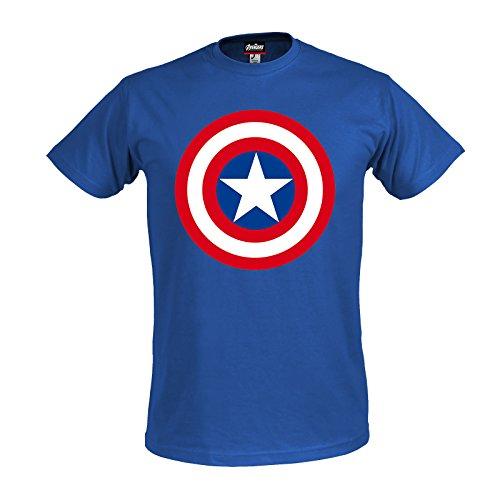 Avengers - T-shirt con motivo Age of Ultron con scudo del super eroe Marvel Captain America - Licenza ufficiale - Blu - M