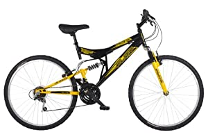 Flite Men's Taser II Dual Suspension Mountain Bike - Black/Yellow (Wheel 26 inches, Frame 18 inches)