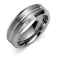 Beveled Edge Brushed Finish 7mm Comfort Fit Mens Tungsten Carbide Wedding Band Ring Size 8