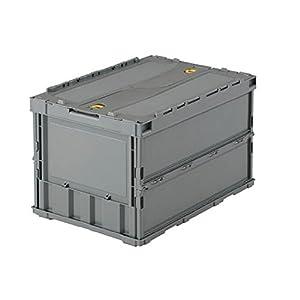 TRUSCO 薄型折りたたみコンテナ グレー 50L ロックフタ付 TRC50B