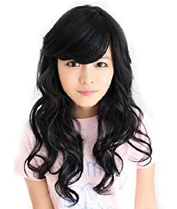 Cute Girl's Long Curly Wig (Black) (Model: Jf010371)