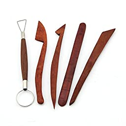 eMylo Professional Pottery Clay Molding Sculpture Rosewood Wooden Shaping Knives Tools 8 Inches 5PCS