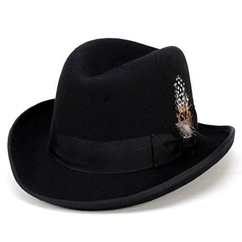 ハット ホンブルグハット ステイシーアダムス 中折れ帽 インポート フォーマル ドレッシー 帽子 ブラック(M(約56.5cm))