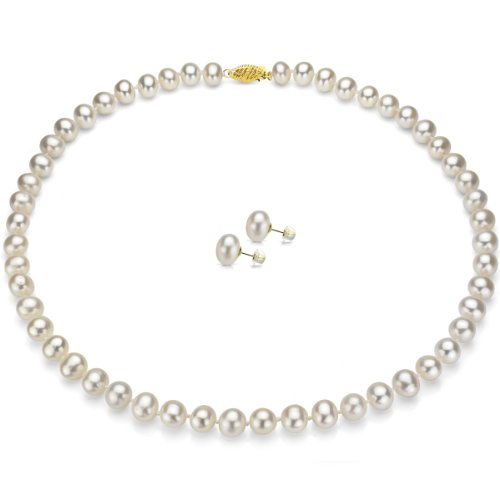 14k Yellow Gold 8-9mm White Freshwater Pearl Necklace 18